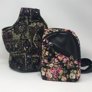 Women's 2Bag Set: Pouch Bag+Backpack Small Black🌺